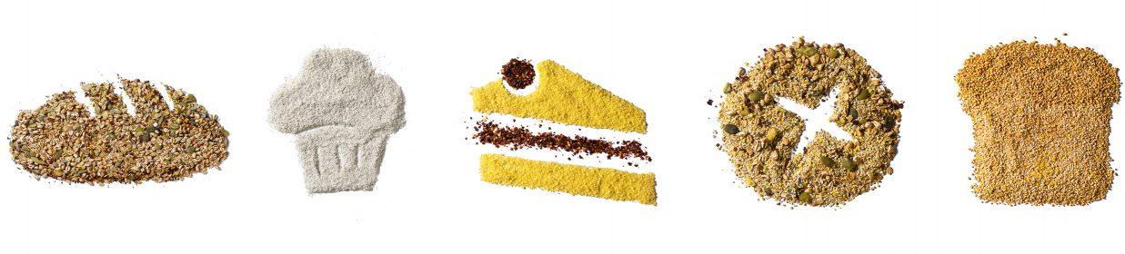 Brot, Brötchen und Feingebäck dargestellt aus Backrohstoffen und Toppings