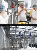 Bilder von Mitarbeitern im Inneren des modernen Mischwerks für Backprodukte Teltomalz